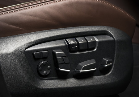 Brown Leather Driver Seat With Stitching Inside Luxury Car Interior