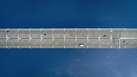 Aerial view of a high way road on the bridge. top view