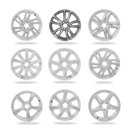 High resolution image of 9 alloy car wheels on white background isolated with clipping path Banco de Imagens