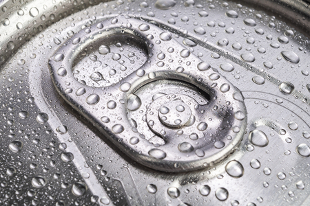 Close up aluminium can drink with droplets
