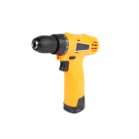 Compact  yellow cordless screwdriver isolated on a white background Banco de Imagens
