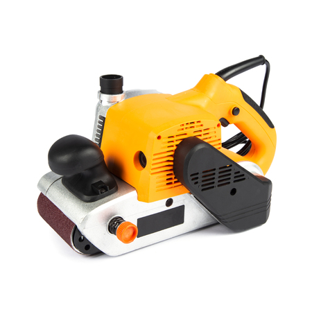 Brand new, yellow electric sander isolated on a white background Banco de Imagens