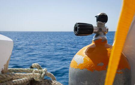 diving equipment on board the boat Banco de Imagens