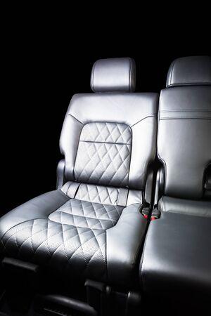 Modern luxury prestige car interior Isolated over black backround Stockfoto