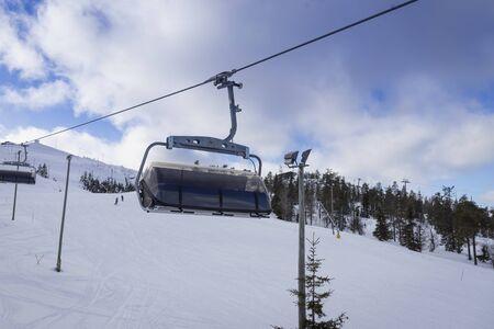 Ski slope with ski lifts on the ski resort in Finland, Ruka
