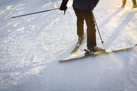 Expert professional skiers at sunset, riding in the snow