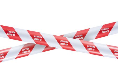red and white warning caution tape covid-19 warning isolated on white background