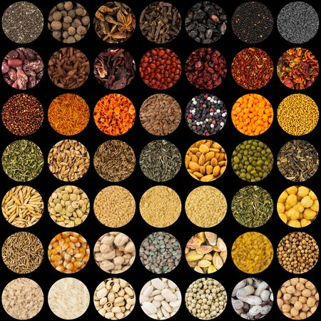 Collection of aromatic spices and condiments, collage background
