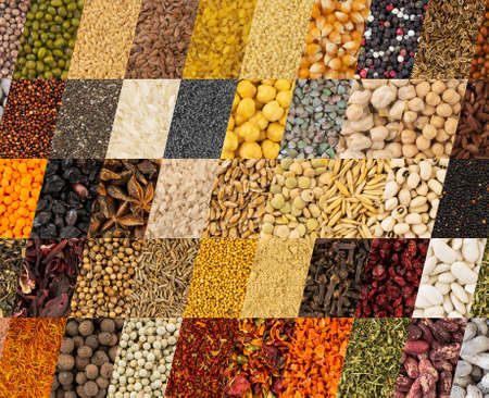 Collection of aromatic spices and condiments, collage background, patchwork