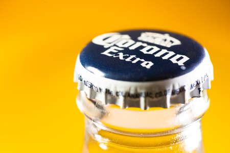 Sankt-Petersburg, Russia - September 07, 2020: Bottle of Mexican beer Corona, macro shot of a cap of the glass bottle Editorial
