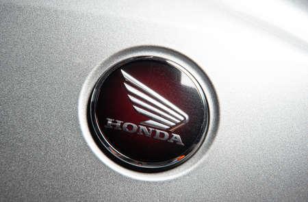 Sankt-Petersburg, Russia - October 22, 2018: Close up logo Honda bike motorcycle at garage