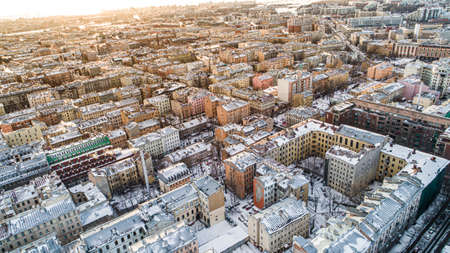 Aerial view of Sankt Petersburg Russia city old town roofs in winter time