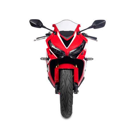 Red motorcycle isolated on a white background Archivio Fotografico