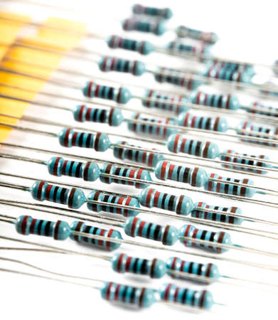 Lots of resistor electronic componentet Concept of group and resistance, Electronic circuit resistors used in industry Archivio Fotografico