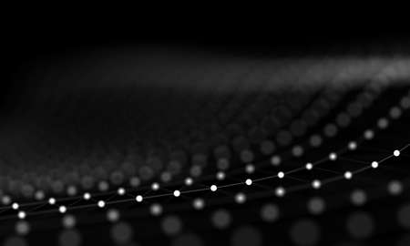 Abstract black and white digital background with connected cybernetic particles Archivio Fotografico