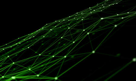 Abstract green digital background with connected cybernetic particles Archivio Fotografico