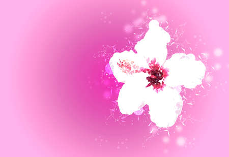 Digital illustration of Hibiscus flower made of particles over pink background