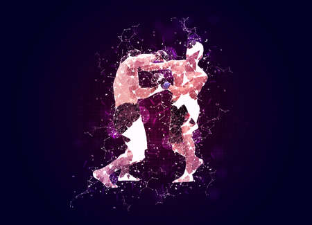 Two MMA Mix Martial Arts fighters illustration with plexus effect over dark blue background, martial sport concept