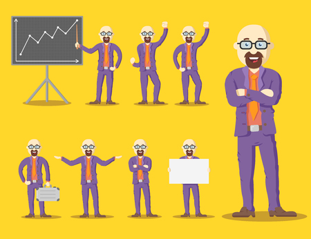 hairless: Vector set hairless character businessman in glasses and purple suit, in different poses.