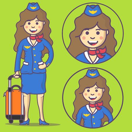 stewardess: Cartoon stewardess in uniform and with big bag. Vector stewardess emoji. Stewardess icons. Set stewardess character in cartoon style.