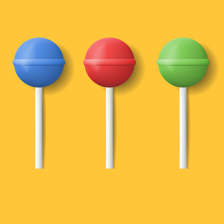 lick: Vector realistic set icons lollipop. Colorful lollipops with shadow. Sweet candy set.