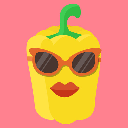hot pepper: Vector yellow sweet pepper cartoon. Sweet pepper with glasses. Sweet yellow pepper with lips. Pepper Fashion. Pepper isolated. Pepper icon.
