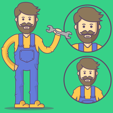 overall: Mechanic in overalls and with wrench. Vector mechanic emoji. Mechanic icons. Set mechanic character in cartoon style. Illustration