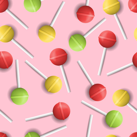 licking in isolated: Vector realistic colorful lollipops seamless pattern. Realistic retro colorful sweet candy pattern. Lollipop on pink background. Illustration