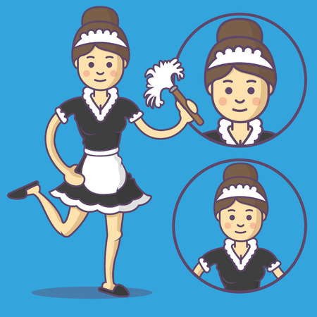Maid in apron and slippers, and with duster. Vector maid emoji. Maid icons. Set maid character in cartoon style.