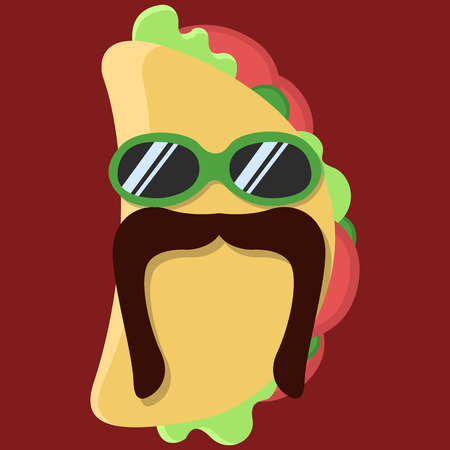 specialty: Vector taco cartoon. Taco with glasses. Taco with mustache. Taco Fashion. Taco isolated. Taco icon.