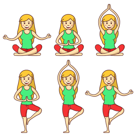 woman exercising: Vector set with beautiful cartoon woman exercising various different yoga poses. Fitness poses. Cartoon yoga. Girl relaxation in yoga poses. Girl relax. Health girl. Illustration
