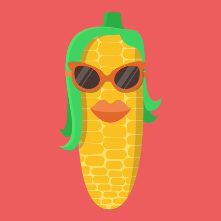 Vector corn cartoon. Corn with glasses. Corn with lips. Corn Fashion. corn isolated. Corn cob icon.