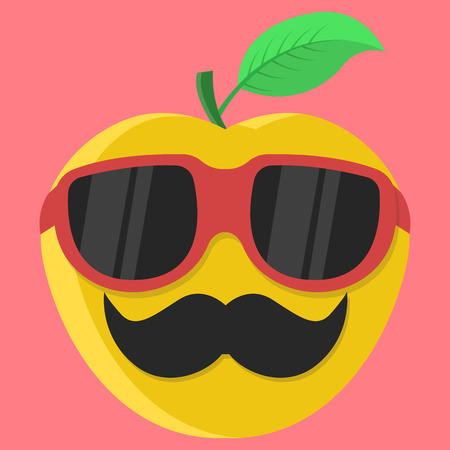 yellow apple: Vector yellow apple cartoon. Apple with glasses. Apple with mustache. Apple Fashion. Apple isolated. Apple icon. Illustration
