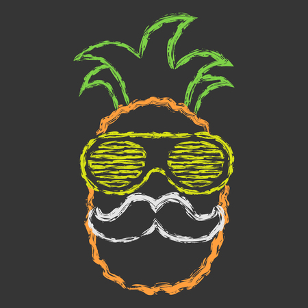 Vector hand drawn brush line chalk color pineapple with glasses and mustache on black background Illustration