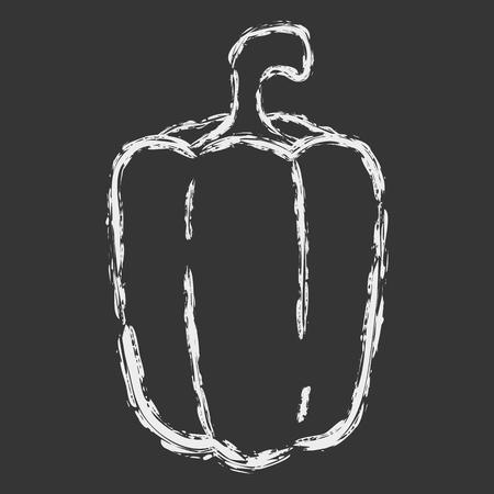 Vector hand drawn brush line white chalk sweet pepper on black background