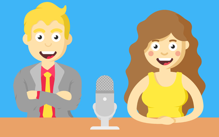 Host man and girl with  microphone at the table, in tv show.
