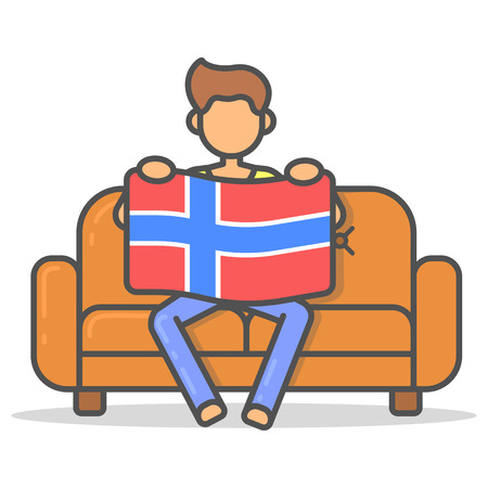 comfortable: Man sitting with the flag Norway on couch in room flat style. Vector character country banner on sofa line illustration. Illustration
