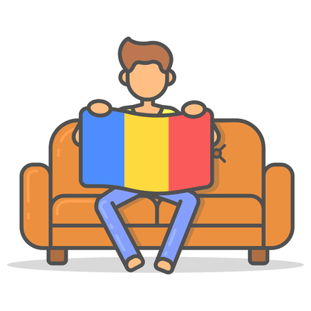 Man sitting with the flag Romania on couch in room flat style. Vector character country banner on sofa line illustration. Illustration