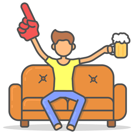 Man watching a sports match on couch with a glass of beer and big hand in room flat style. Vector character on sofa line illustration. Illustration