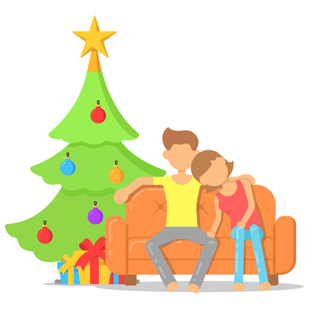Love couple sitting on the sofa near the Christmas tree on Christmas eve. Icon with a festive interior.