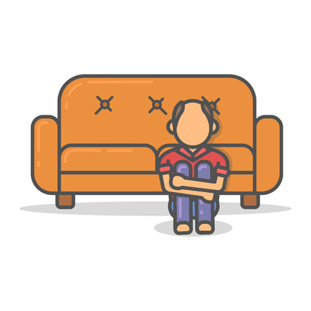 Elderly and paunchy man scary on couch in room flat style. Vector character on sofa flat line illustration. Illustration
