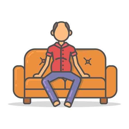 Elderly and paunchy man relax on couch in room flat style. Vector character on sofa flat line illustration.