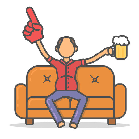 Elderly and paunchy man drinking beer on couch in room flat style. Vector character on sofa flat line illustration.