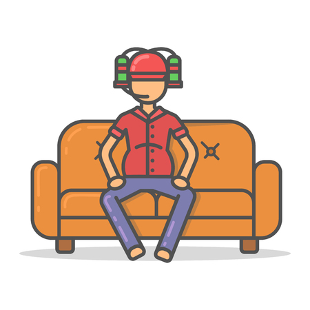 Elderly and paunchy man drinking beer from a helmet  on couch in room flat style. Vector character on sofa flat line illustration.