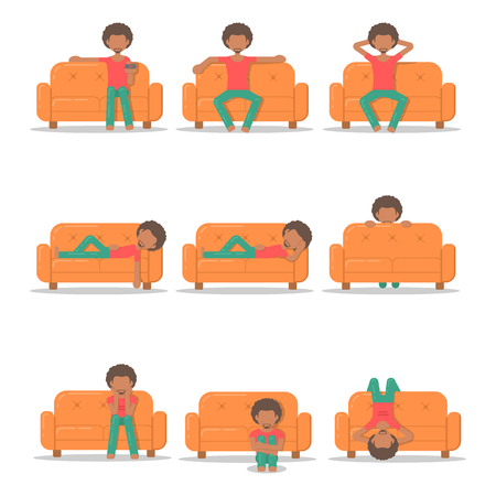 viewer: Set icon with afro man in different poses on couch in room flat style. Bundle vector logo character on sofa in cartoon style  illustration. Illustration