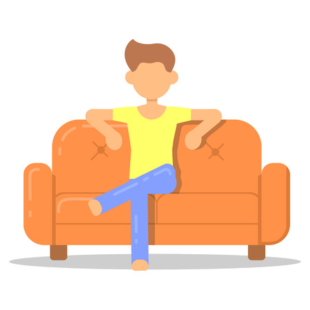 Icon with fashion hairstyle man relax on couch in room flat style. Vector logo character on sofa in cartoon style  illustration. Illustration