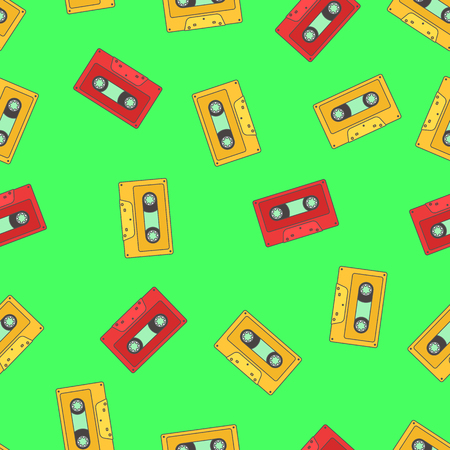 Seamless pattern with red and yellow retro audio tape on green background.