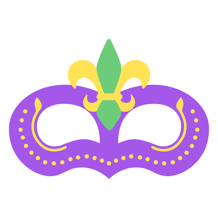 Mardi gras mask with color fleur. Icon colorful props for carnival or theater.