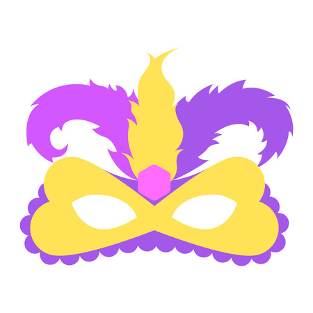 Mardi gras mask with color feather. Icon colorful props for carnival or theater.