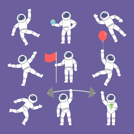 set vector astronauts in different poses. Flat icon astronauts Ilustração